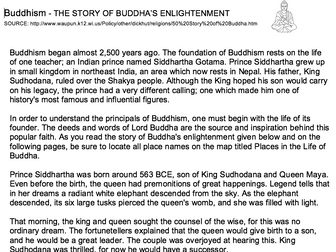 Life of Siddhartha Story and Question Sheet