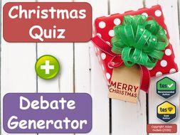 Maths Christmas Quiz & Debate Generator (Easy Christmas Lesson, P4C)
