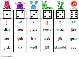 Alien board game (nonsense words Phase 3)