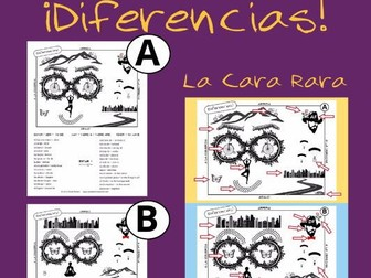 Spanish Spot the Differences Game for Prepositions and Oral Proficiency.  Great Vocabulary Activity!
