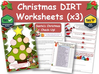 Christmas DIRT Worksheets (3 x A4) [DIRT, Exam, Revision, DIRT, AfL, Xmas]