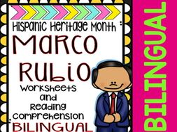 Hispanic Heritage Month - Marco Rubio - Worksheets and Readings (Bilingual)