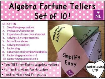 Algebra Fortune Teller Activities