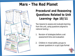 Age 10/11 Procedural and Reasoning Questions Related to Unit Learning- Two Lessons