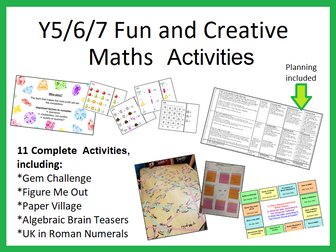 11 Fun and Creative Maths Investigations and Activities, Year 5/6/7 (Set A)