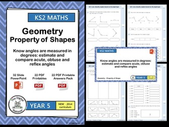 Year 5- Estimate, measure, compare acute, obtuse, reflex angles - Geometry White Rose (inc. MASTERY)