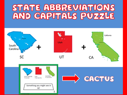 US State Abbreviations And Capitals Puzzles By Donielle Sharma