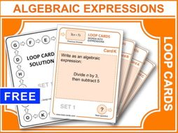 Writing Algebraic Expressions (Loop Cards)
