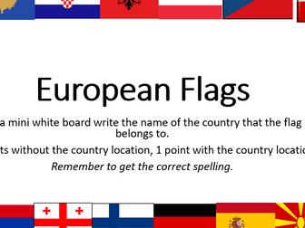 European Flags quiz, lesson or tutor time activity - master the flags (Grammar, Trivium)