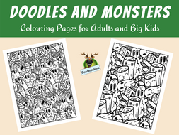 Doodles and Monsters Colouring Pages for Adults and Big Kids