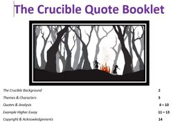 The Crucible: Higher English Quote Booklet & Example Essay