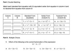 Quadratics Test or Test Review Version 1
