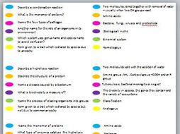 AS OCR Biology Revision Trivial Pursuit Cards