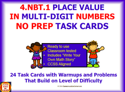 4.NBT.1 Math 4th Grade NO PREP Task Cards—PLACE VALUE IN MULTI-DIGIT NUMBERS