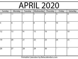 Blank April 2020 Calendar Printable by betacalendars