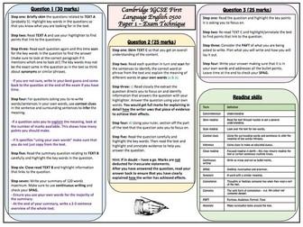 Cambridge IGCSE 0500 English Language Paper 1 Knowledge Organiser