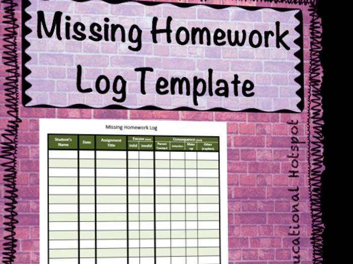 homework template for teachers