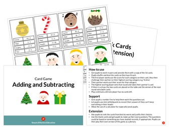 Christmas Card Game (Adding and Subtracting)