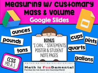 {FREEBIE} Measuring w/ Customary Mass & Volume Google Slides