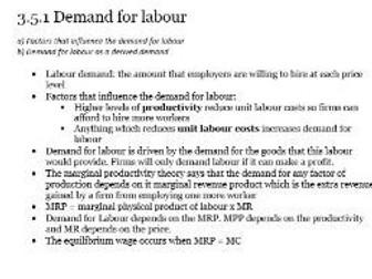 Edexcel A-level Economics Unit 3.5 Labour market