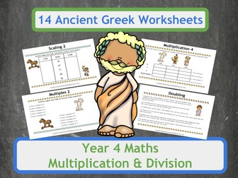 Ancient Greek Themed Multiplication and Division Worksheets for Year 4 Classes