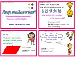 Maths challenge mastery cards