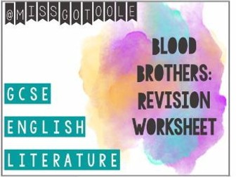 Blood Brothers Revision Worksheet/ Map