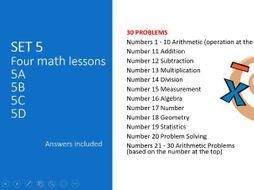 DISTANCE LEARNING 4x engaging math lessons (Set 5)