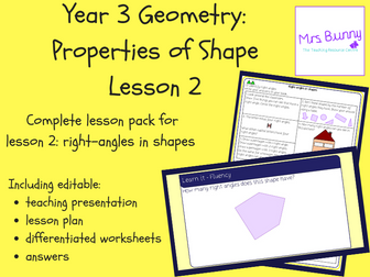 2. Geometry: right-angles in shapes lesson pack (Y3)