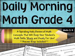 Daily Morning Math Grade 4 {Weeks 5-8}