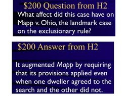Jeopardy Law Game RANDOLPH Exclusionary Rule ~ Search Seizure ~ Fourth Amendment