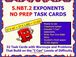5.NBT.2 Math 5TH Grade NO PREP Task Cards—POWER OF TEN PRINTABLES