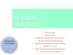 Revision timetable - Secondary students, dyslexia, SATS GCSE A level students Summer organisation