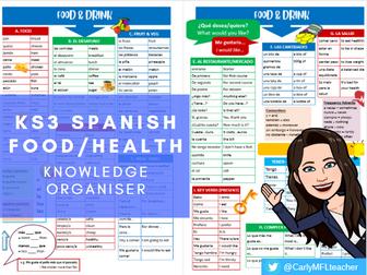 KS3 Spanish Food/Drink/Health Topic Knowledge Organiser