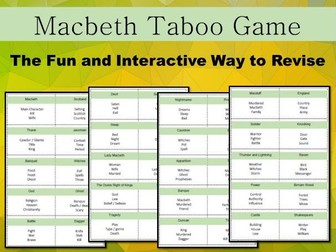 Macbeth Taboo Game - Revision