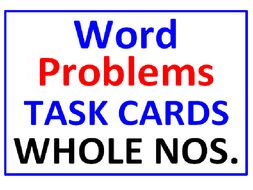 Word Problems Task Cards for Whole Numbers WITH Lesson Plan