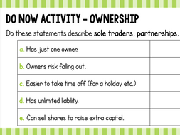 Small Business Ownership Do Now Activity