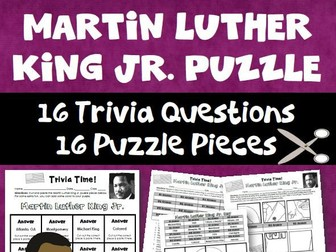 Martin Luther King Jr Trivia Puzzle Activity