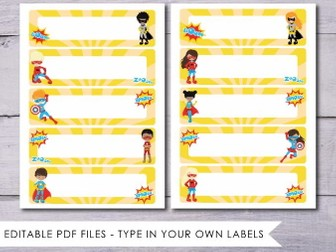 Superhero Tray Labels - editable