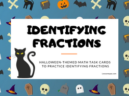 Halloween Themed Identifying Fractions Math Task Cards