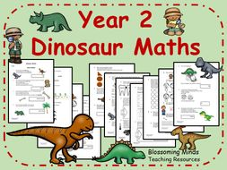 Year 2 Dinosaur Maths - All Topics - Differentiated Levels - Colour and Black & White