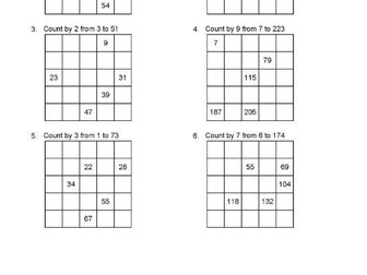 1000 Questions Counting Tables KS2 Fill in the Squares Mathematics