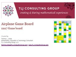 Airplane Arithmetic Game Board 11x17