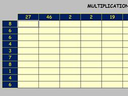 multiplication grid interactive worksheet excel by barryupward teaching resources. Black Bedroom Furniture Sets. Home Design Ideas