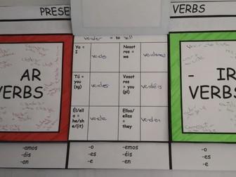Flip book - Spanish Present tense - Regular verbs endings - hands on activity