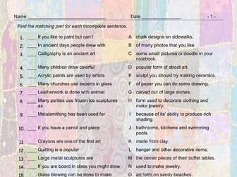 Art Forms Sentence Match Ups Worksheet And Answer Key