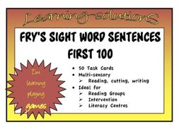 Sight Words Fry S First 100 Sentences Transition From Reading