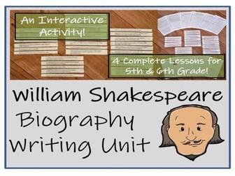 UKS2 History - William Shakespeare Biography Writing Unit