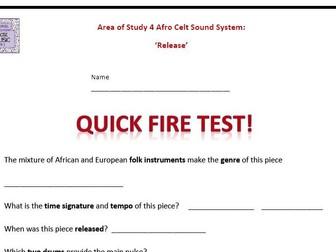 Quick Fire Test Release Afro Celt Sound System - GCSE 9-1 Edexcel Music