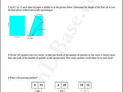 Brain Teasers Worksheet DY1 - Math problems & puzzles (Dare You!)